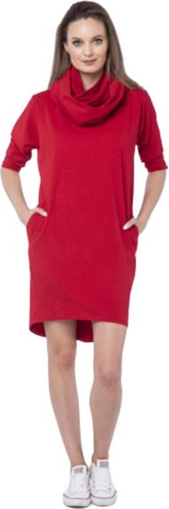 Czerwona sukienka Look made with love z bawełny oversize w stylu casual