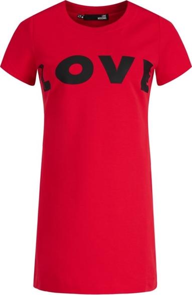 Czerwona sukienka Love Moschino z okrągłym dekoltem trapezowa z krótkim rękawem