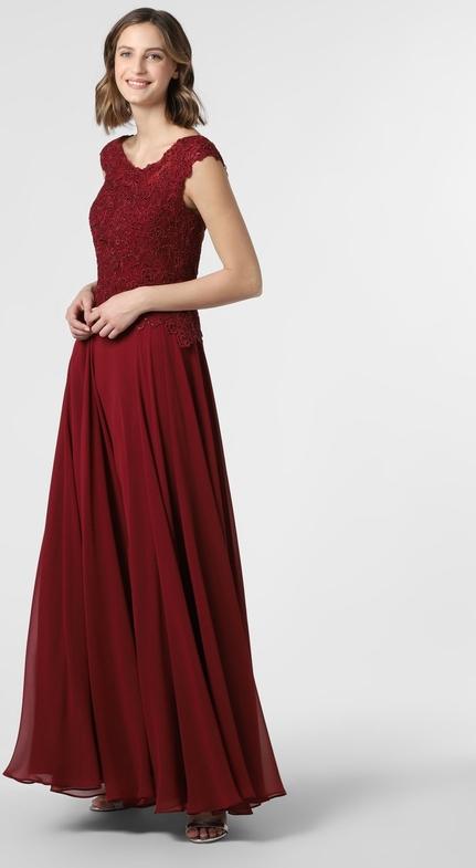 Czerwona sukienka Luxuar Fashion maxi rozkloszowana z dekoltem w kształcie litery v