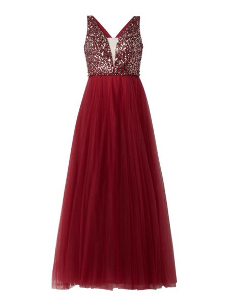 Czerwona sukienka Luxuar maxi z tiulu rozkloszowana