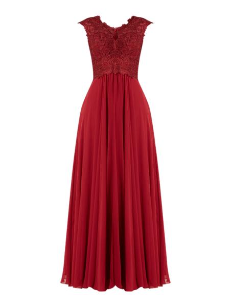 Czerwona sukienka Luxuar z szyfonu