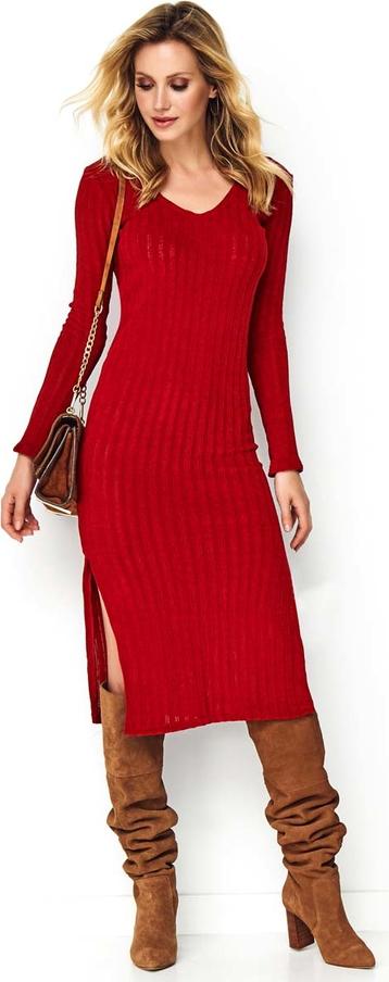 Czerwona sukienka Makadamia midi z długim rękawem