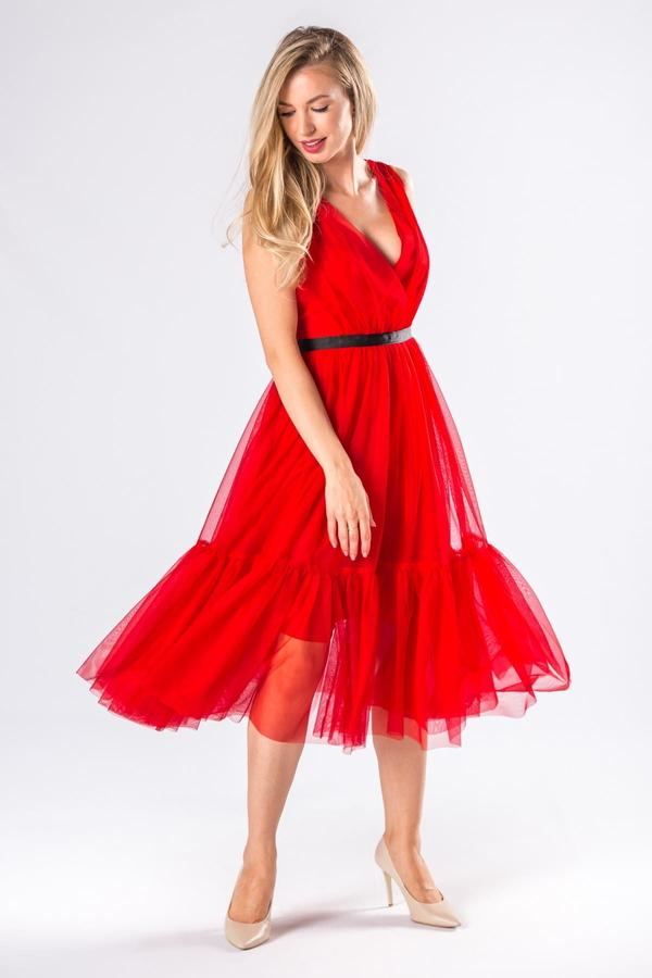 Czerwona sukienka Manumo z tiulu midi kopertowa