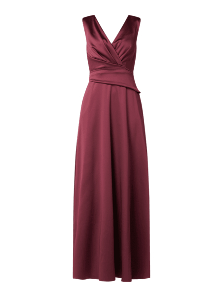 Czerwona sukienka Marie Noir z satyny z dekoltem w kształcie litery v bez rękawów