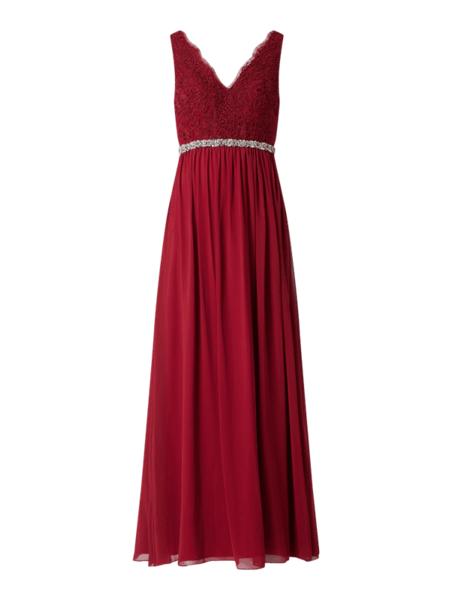 Czerwona sukienka Mascara z szyfonu maxi z dekoltem w kształcie litery v