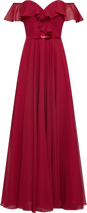 Czerwona sukienka Mascara z szyfonu z krótkim rękawem