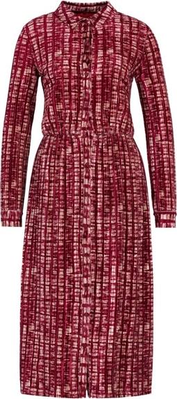 Czerwona sukienka Max & Co. midi z kołnierzykiem z długim rękawem