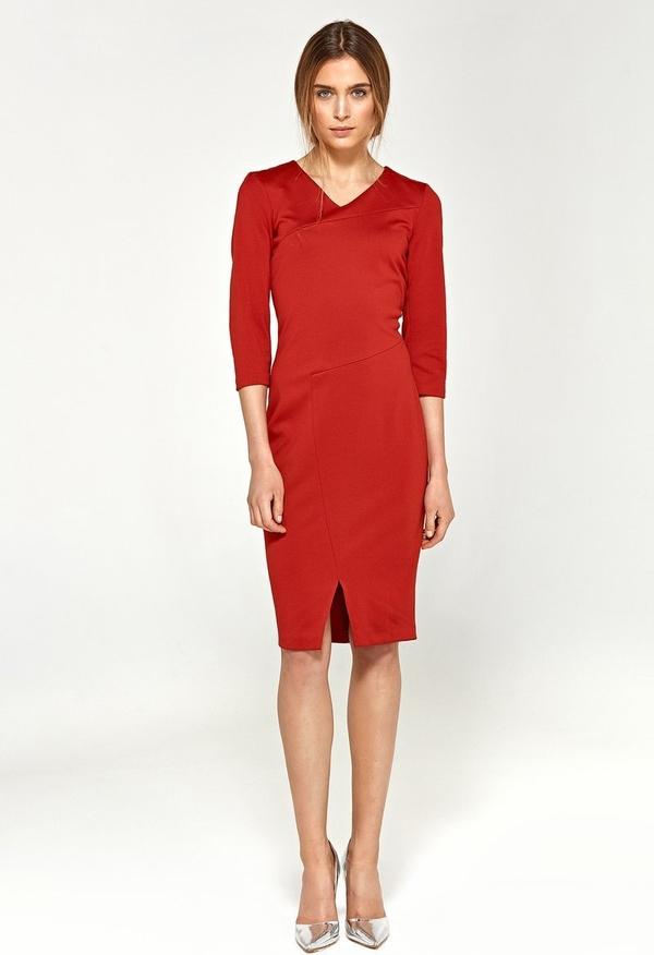 Czerwona sukienka Merg midi z długim rękawem ołówkowa