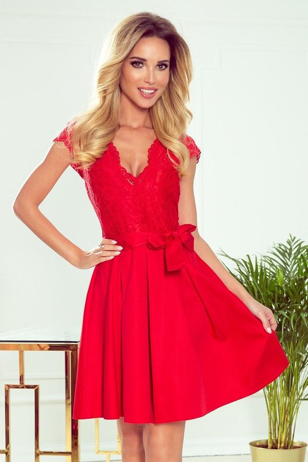 Czerwona sukienka Merg z dekoltem w kształcie litery v