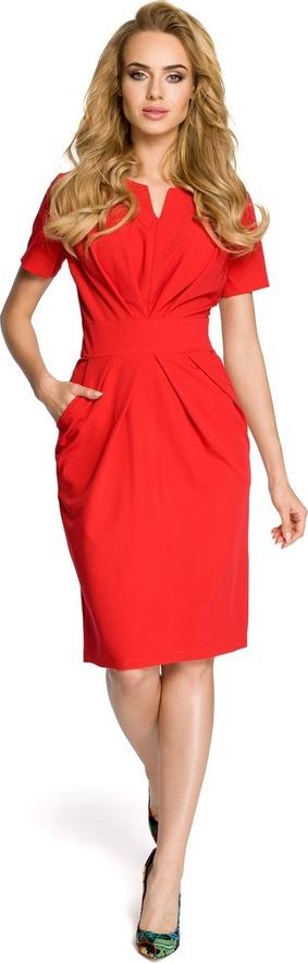 Czerwona sukienka Merg z dekoltem w kształcie litery v z krótkim rękawem midi