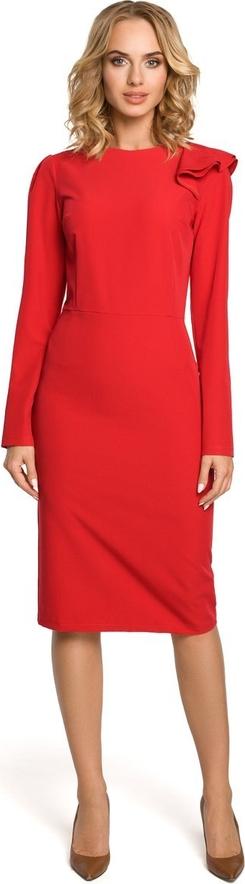 Czerwona sukienka Merg z długim rękawem midi