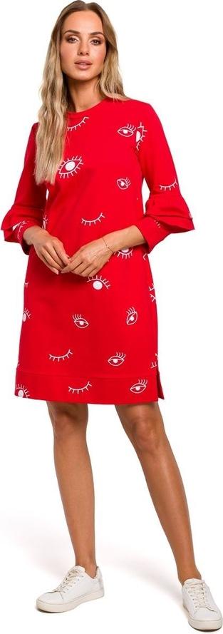Czerwona sukienka Merg z okrągłym dekoltem