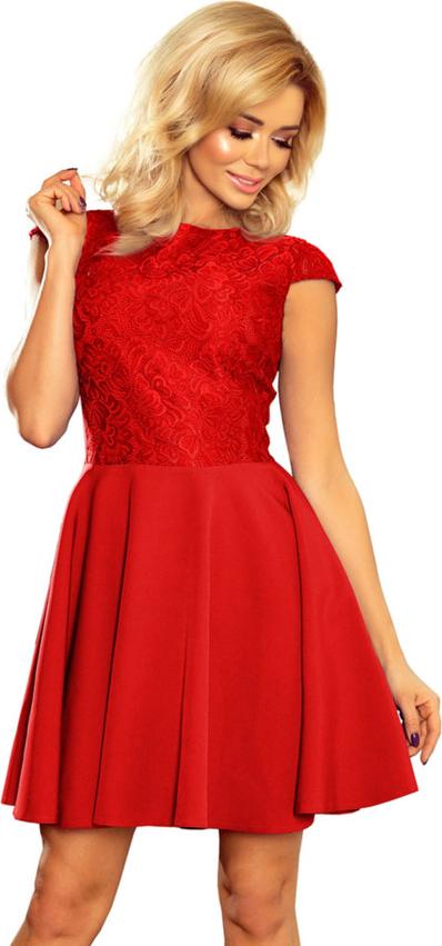 Czerwona sukienka Moda Dla Ciebie mini z krótkim rękawem