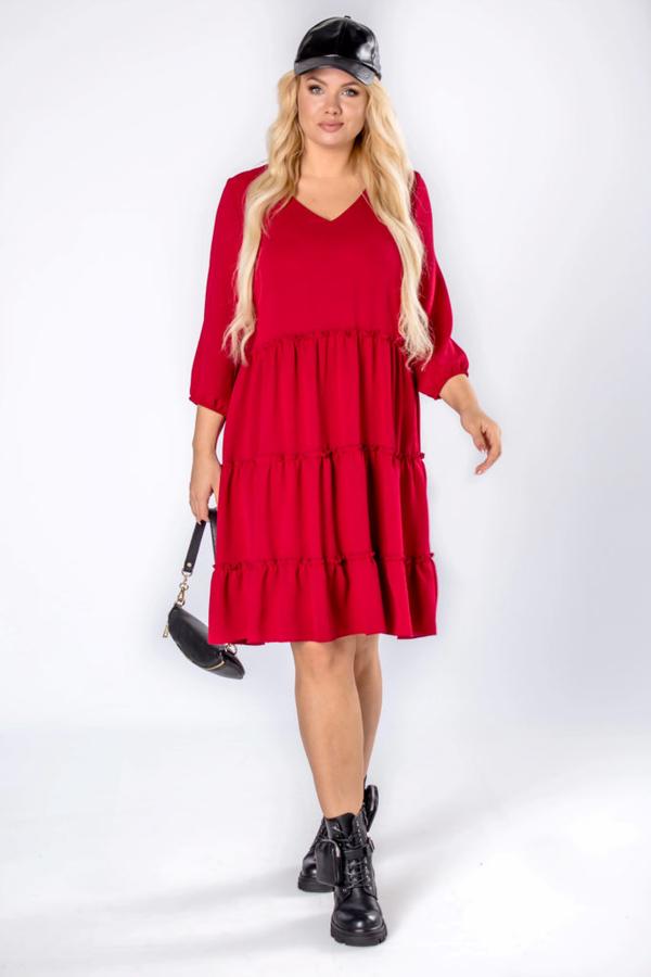 Czerwona sukienka Moda Dla Ciebie z dekoltem w kształcie litery v z długim rękawem