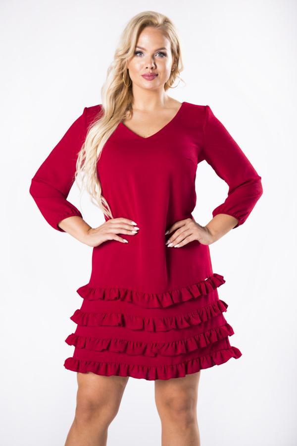Czerwona sukienka Moda Dla Ciebie z długim rękawem