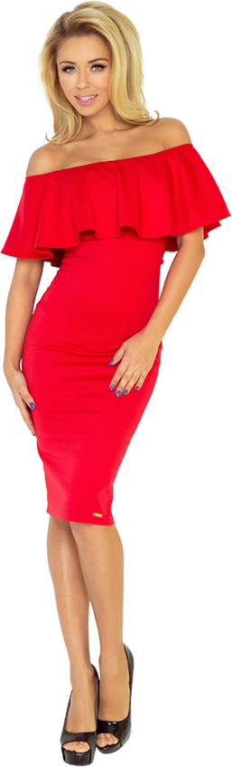 Czerwona sukienka Moda Dla Ciebie z krótkim rękawem