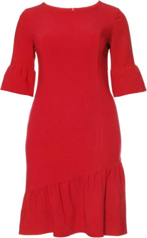 Czerwona sukienka modneduzerozmiary.pl z krótkim rękawem midi