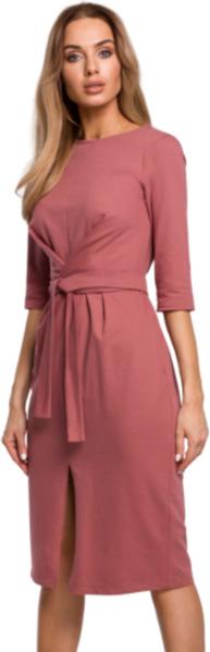 Czerwona sukienka MOE midi z długim rękawem