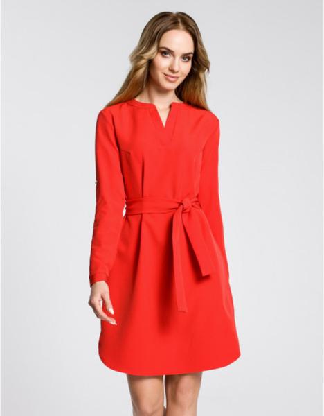 Czerwona sukienka MOE mini z długim rękawem
