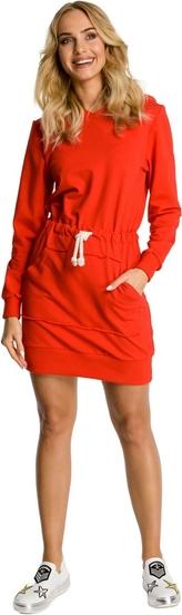 Czerwona sukienka MOE w stylu casual z dzianiny z długim rękawem