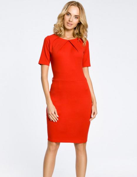 Czerwona sukienka MOE z krótkim rękawem ołówkowa