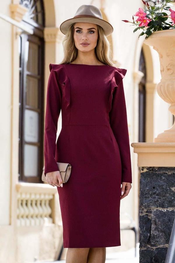 Czerwona sukienka MOE z okrągłym dekoltem z długim rękawem