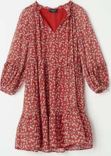 Czerwona sukienka Mohito mini z szyfonu
