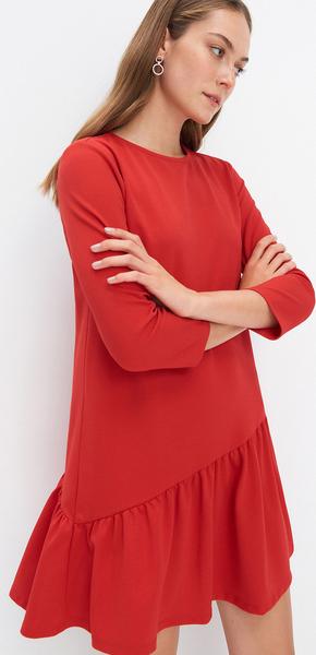 Czerwona sukienka Mohito z długim rękawem