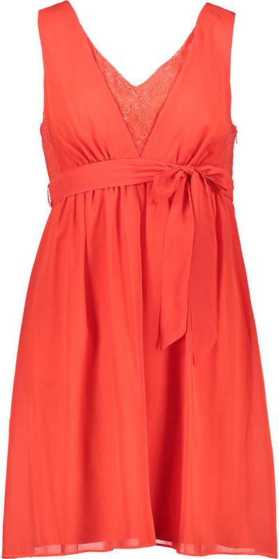 Czerwona sukienka Naf naf mini w stylu casual z dekoltem w kształcie litery v
