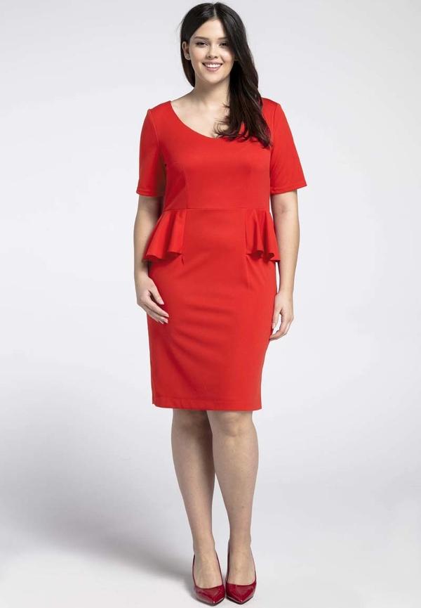 Czerwona sukienka Nommo z dekoltem w kształcie litery v dla puszystych