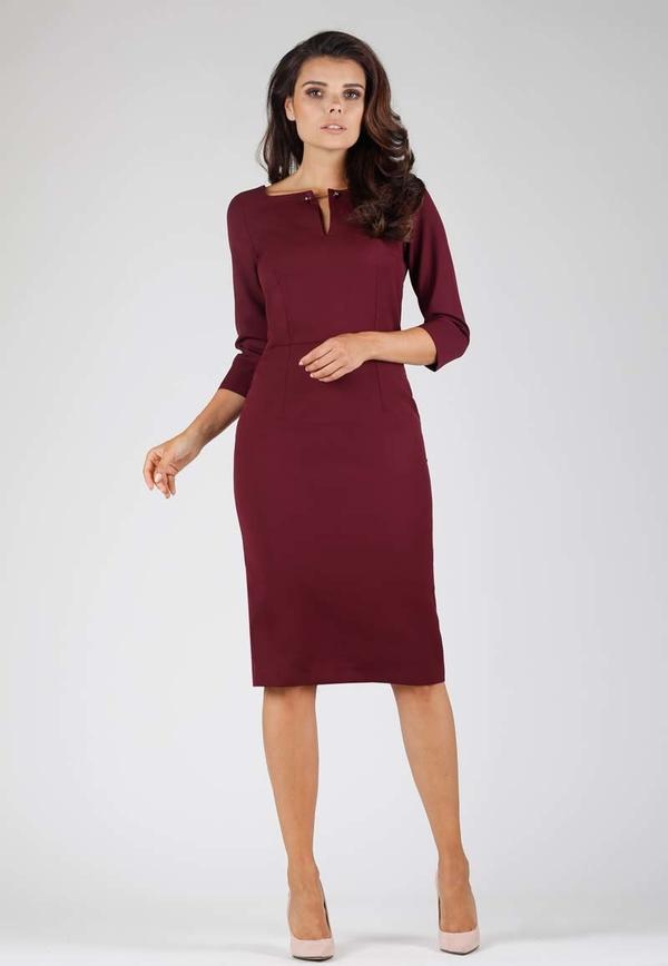 Czerwona sukienka Nommo z długim rękawem dopasowana midi