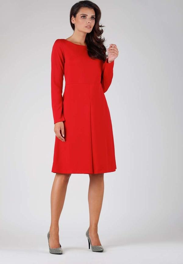 Czerwona sukienka Nommo z długim rękawem midi
