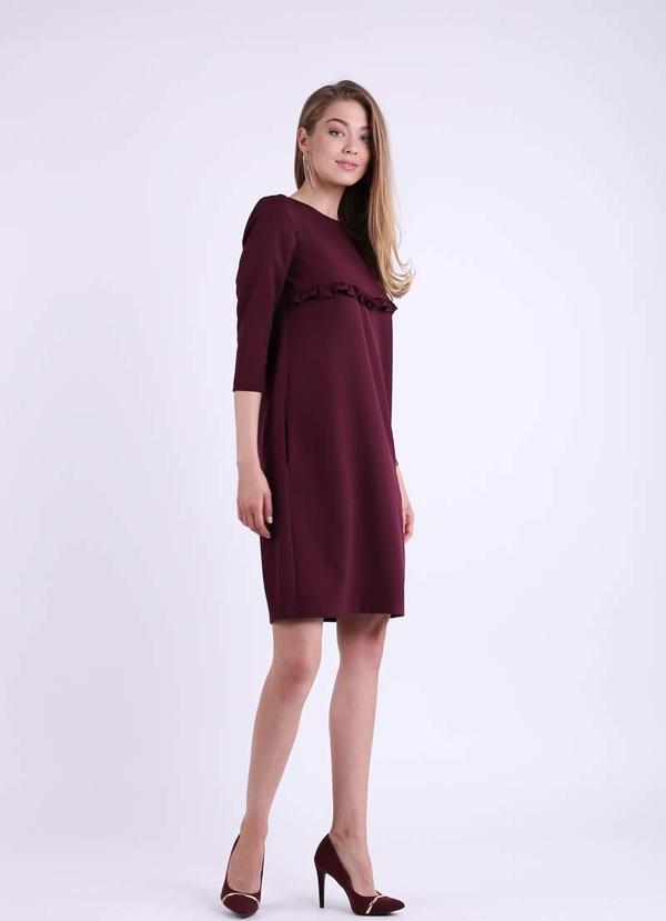 Czerwona sukienka Nommo z długim rękawem mini