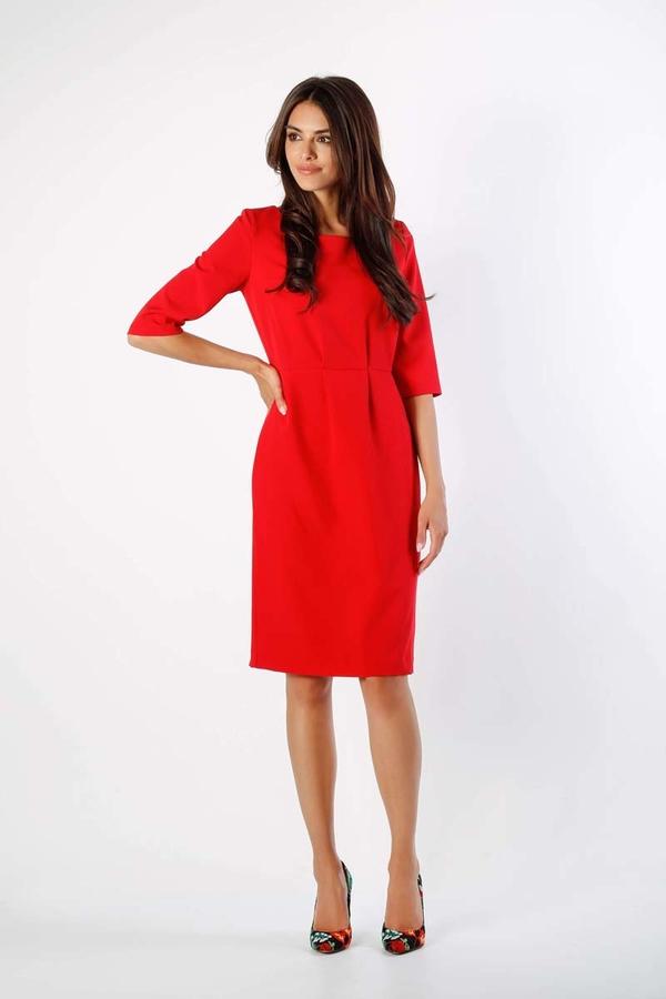 Czerwona sukienka Nommo z okrągłym dekoltem midi z długim rękawem