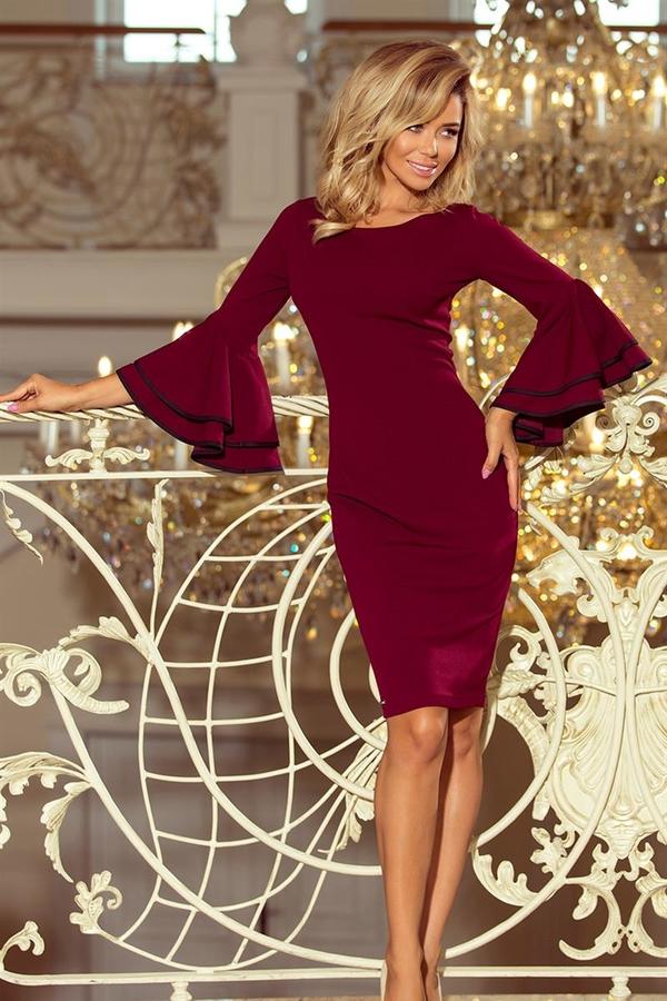 Czerwona sukienka NUMOCO dopasowana z długim rękawem