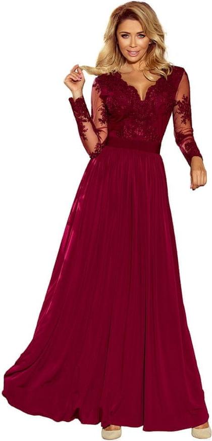 Czerwona sukienka NUMOCO maxi rozkloszowana