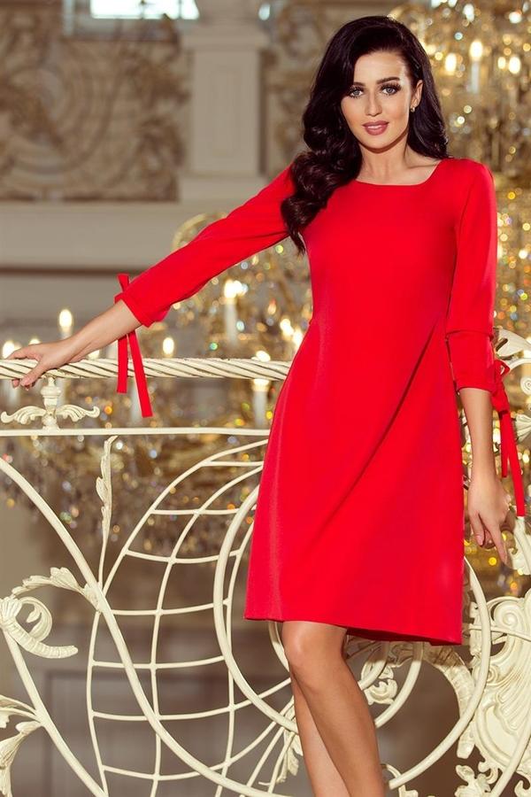 Czerwona sukienka NUMOCO midi z długim rękawem