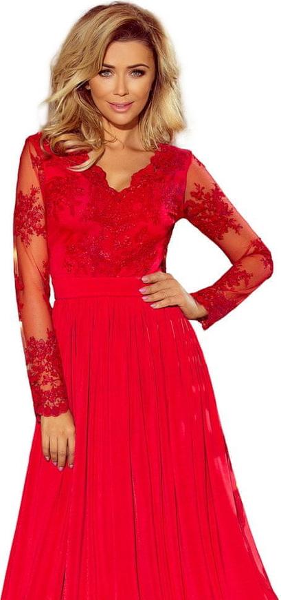 Czerwona sukienka NUMOCO z długim rękawem maxi