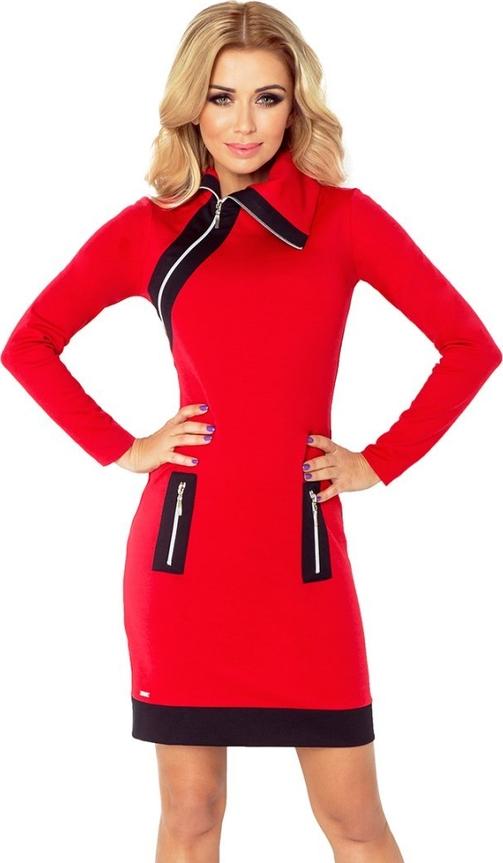 Czerwona sukienka NUMOCO z golfem