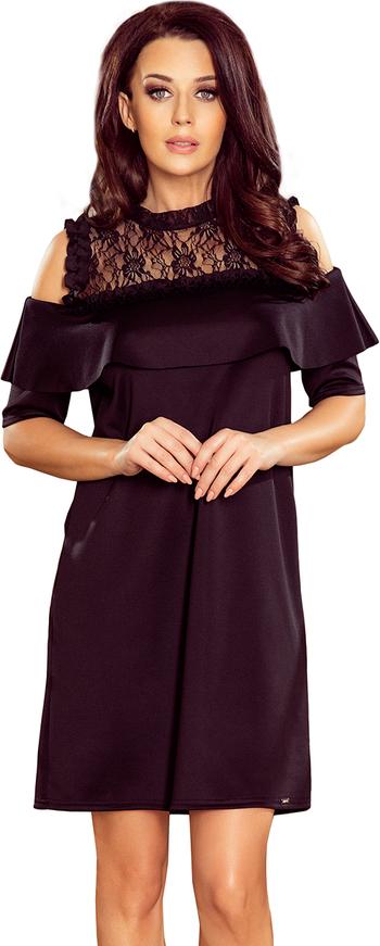 Czerwona sukienka NUMOCO z odkrytymi ramionami mini z długim rękawem