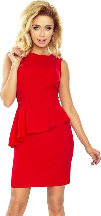 Czerwona sukienka NUMOCO z okrągłym dekoltem baskinka mini