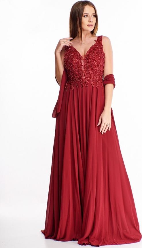 Czerwona sukienka omnido.pl na ramiączkach z tiulu