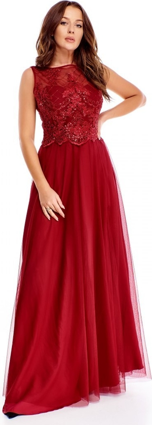 Czerwona sukienka omnido.pl rozkloszowana bez rękawów z tiulu