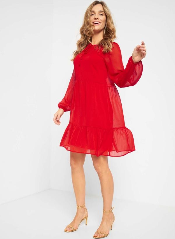 Czerwona sukienka ORSAY z długim rękawem