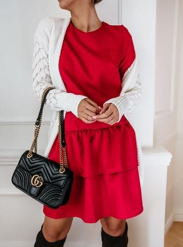 Czerwona sukienka Pakuten z długim rękawem w stylu casual z okrągłym dekoltem
