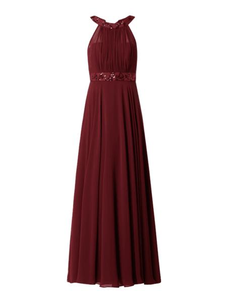 Czerwona sukienka Paradi z szyfonu bez rękawów maxi