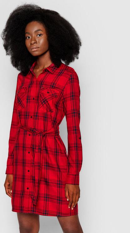 Czerwona sukienka Pepe Jeans mini koszulowa z długim rękawem