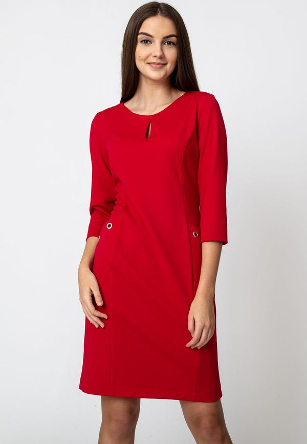Czerwona sukienka QUIOSQUE z długim rękawem z okrągłym dekoltem trapezowa