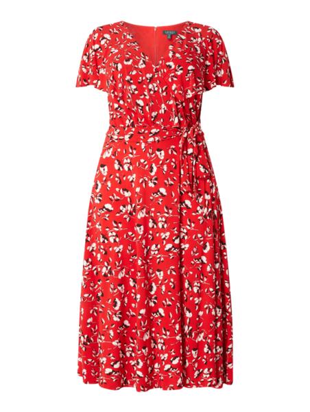 Czerwona sukienka Ralph Lauren w stylu casual rozkloszowana