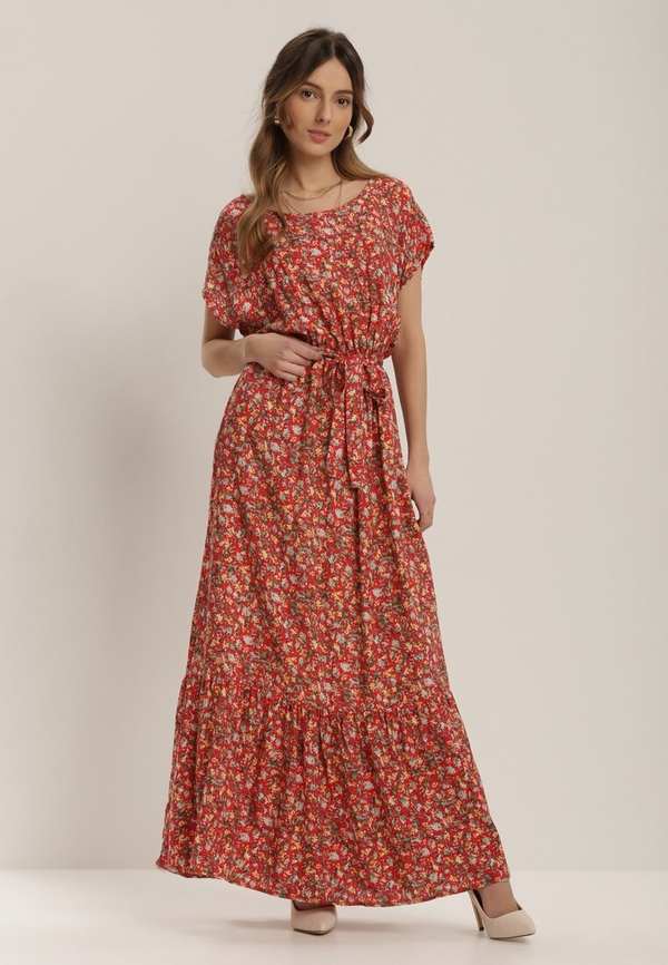 Czerwona sukienka Renee maxi z okrągłym dekoltem z krótkim rękawem